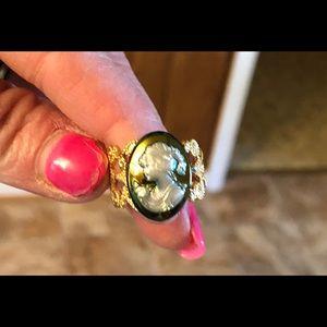 Elegant purplish blueish Cameo Adjustable Ring